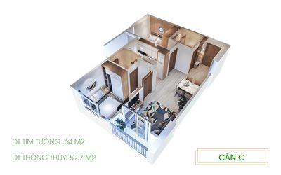 San lại căn hộ 1PN rưỡi diện tích 42m2 với giá CĐT