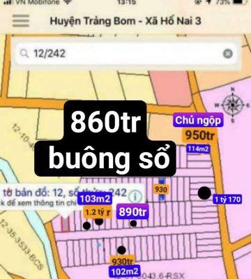 Đất thổ cư 100%.sát phường Tân Hòa 102m2