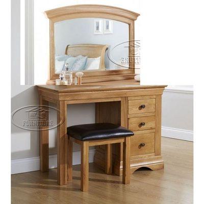 bộ bàn phấn trang điểm 3 hộc kính lớn gỗ sồi