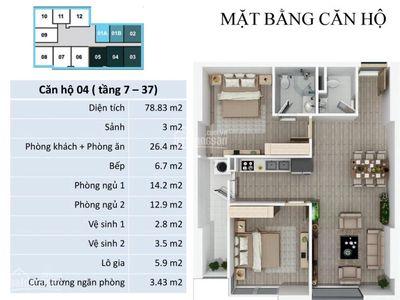 Bán gấp căn 2 ngủ 84m2 full nội thất