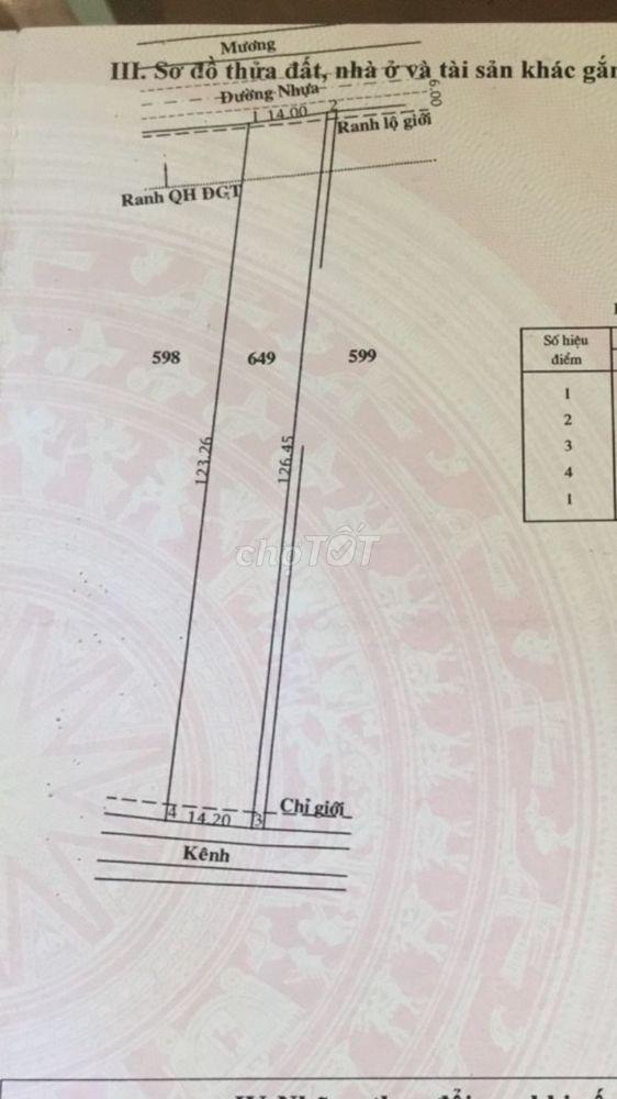 Đất Huyện Củ Chi 14x123 tc 300m2  bùi thị điệt