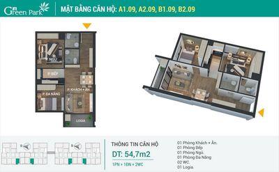 Chung cư Quận Hoàng Mai 55m² 2PN