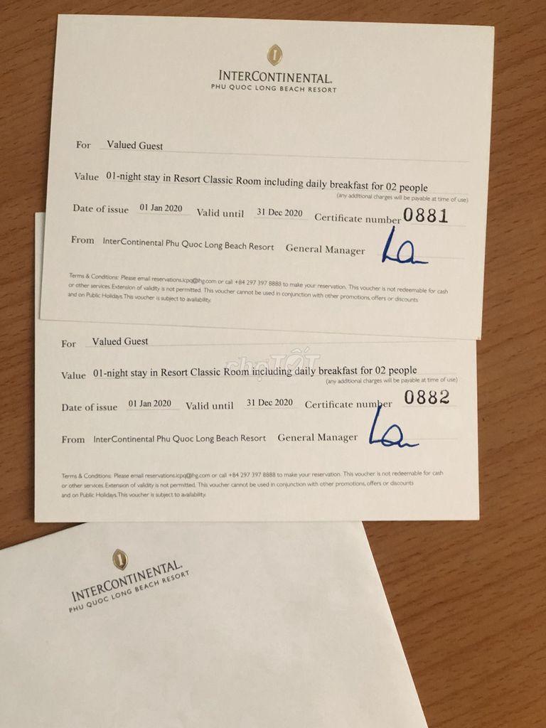 Bán 2 voucher khách sạn Intercontinental Phu Quoc