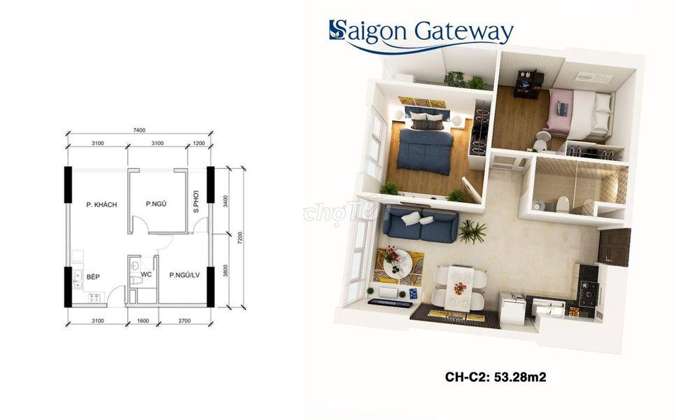 Bán lỗ căn hộ Saigon Gateway 53m² 2PN giá kịch sàn