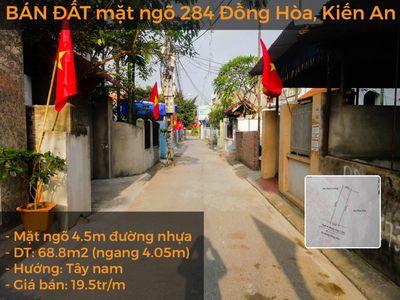 BÁN ĐẤT mặt ngõ 284 Đồng Hòa, Kiến An