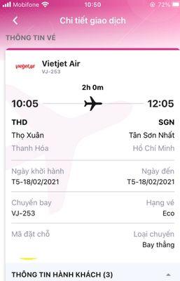 Vé may bay Thanh Hóa - Hồ Chí Minh ngày mùng 7 tết