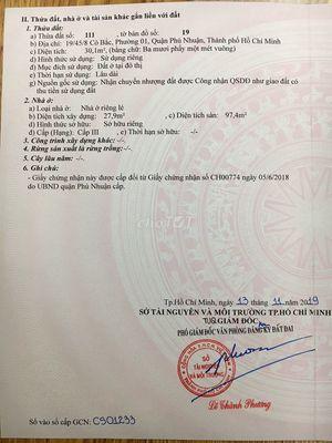 Chính chủ bán nhà hẻm Cô Bắc- Phú NHuận