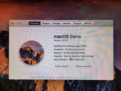 Apple Macbook Pro 2011, i5 - 2.3Ghz, RAM 16Gb