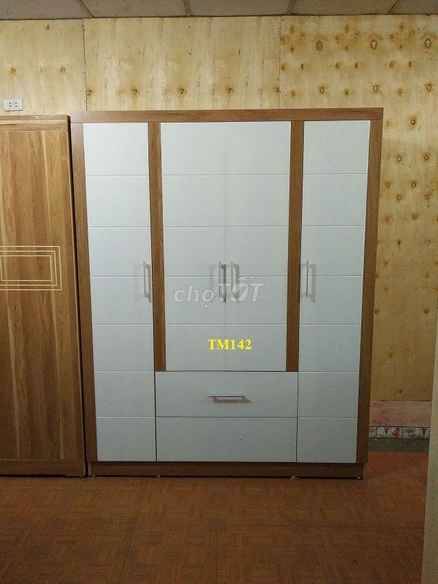0788765888 - Tủ quần áo vân gỗ phối trắng đẹp