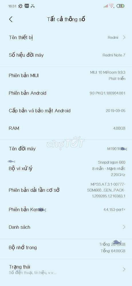 Redmi Note 7 4/64 xách tay Full box mới 99%