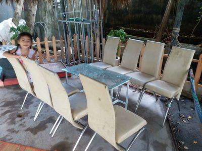 thanh lý bộ bàn ăn, 8 ghế nệm, 1 bàn kính
