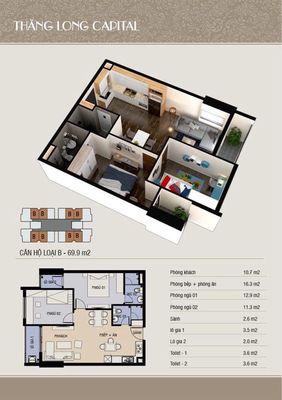 Nhượng căn hộ 1011A toà T4 Thăng Long Capital
