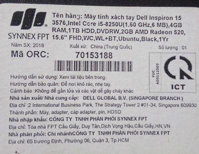 Dell 3576 coi5 8250u 4 nhân 8 luồng, ram16, ssd12