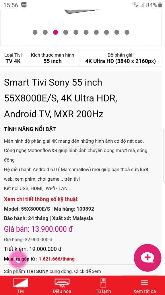 0843587968 - Tivi 55 inch Sony X8000e siêu phẩm 4K có giọng nói