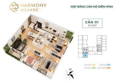 88.09m² 3PN - Chung cư Thanh Xuân - HARMONY SQUARE