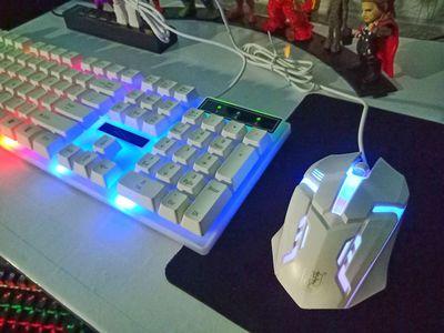 Bộ bàn phím chuột G21 đèn led giả cơ trắng - đen