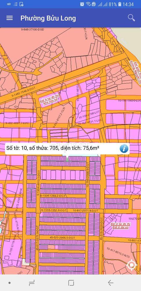Đất gần nhà ở XHbửu long, 75m2, sổ hồng, t hình