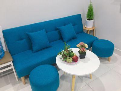 Sofa bed, sofa giường nệm mút lò xo xanh dương