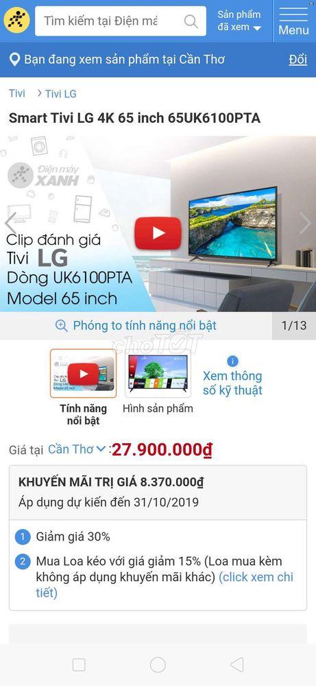 Tivi LG 65IN 4K 2018