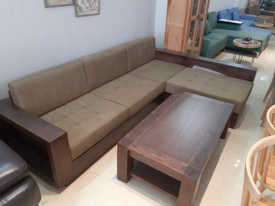 bộ sofa salon gỗ sồi Màu óc chó dài 2m6