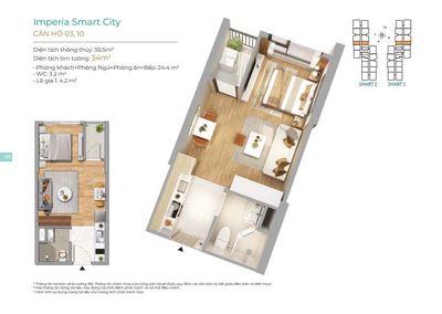 Căn hộ imperia Smart City 30m²  đối diện hồ