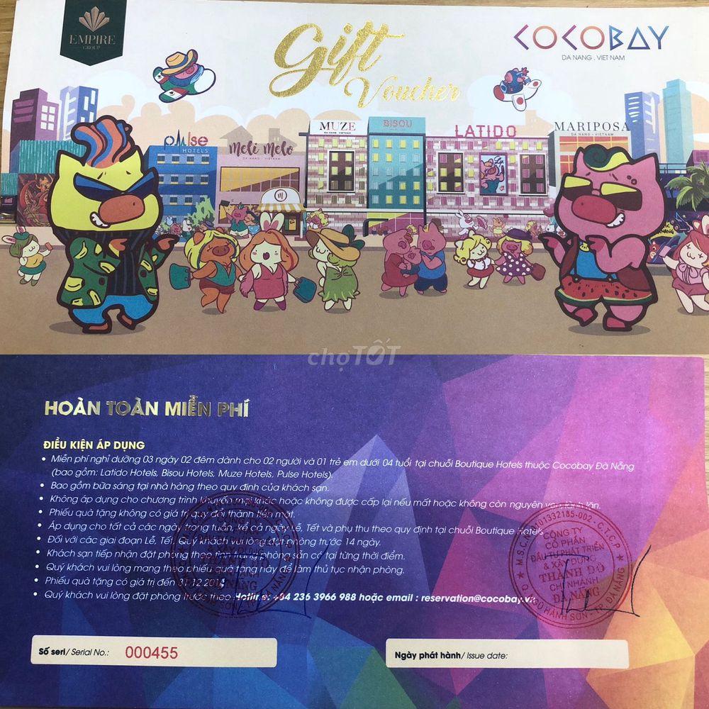 Thanh lý 2 voucher Cocobay Đà Nẵng 3n2d