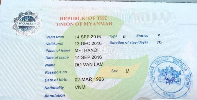 Làm nhanh visa đi Myanmar Công Tác trong ngày