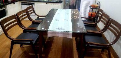 Bộ bàn ghế ăn, gỗ óc chó, 7 món