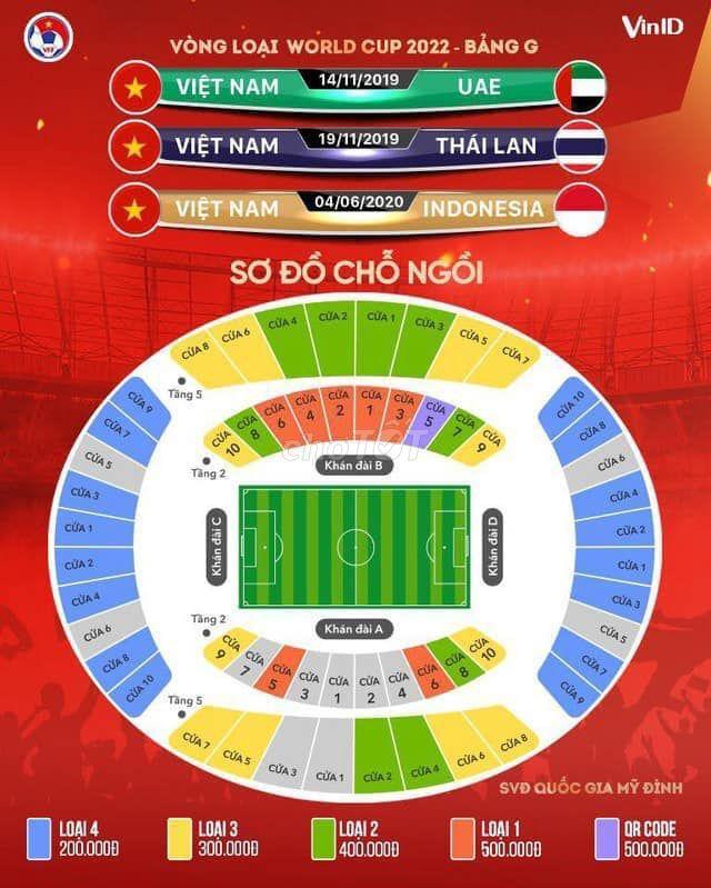 Bán 2 cặp vé vòng loại WC VN- Thái Lan 19/11/2019