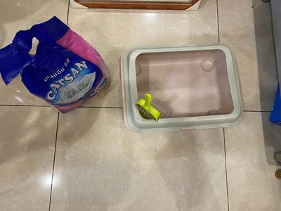 Khay vệ sinh cho mèo tặng bao cát vệ sinh 4kg