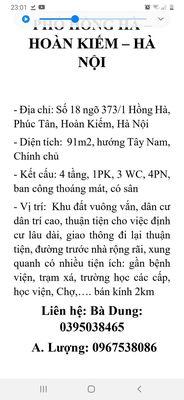 Bán nhà chính chủ số 18 ngõ 373/1 Hồng Hà, HK, HN.