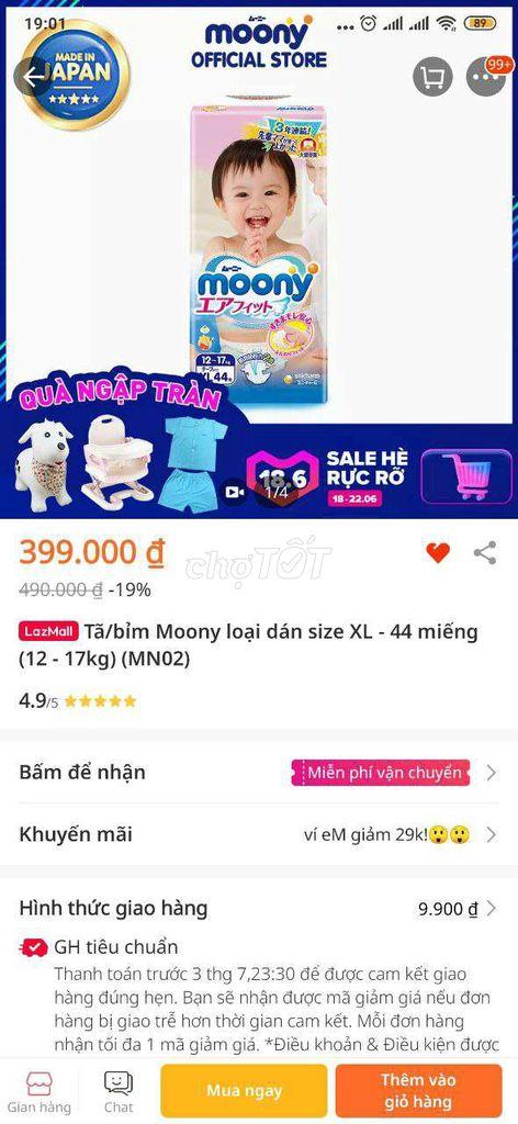0912604620 - Tả / bỉm Moony size XL 44 miếng 200k có link shope