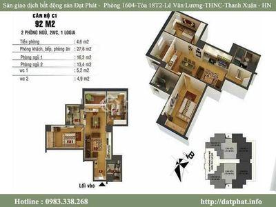 Chung cư Lilama - 52 Lĩnh Nam 92m² 2PN