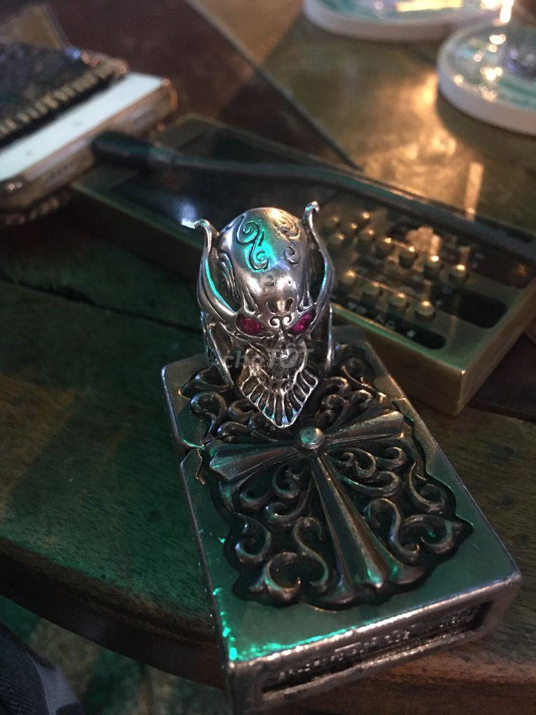 0935553504 - Nhẫn bạc ngoại 925 skull cướp biển sưu tầm độc