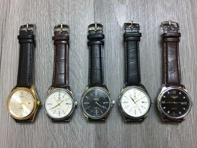 Đồng hồ nam dây da sale đồng giá 299k.