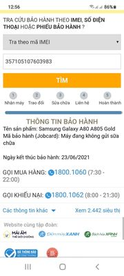 Samsung a80 ram 8gb/128 còn BH 23.06.2021