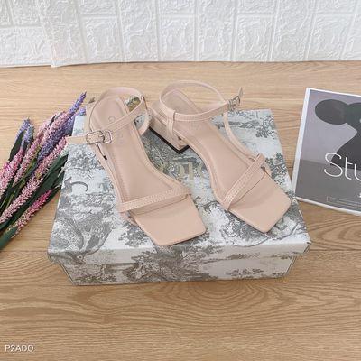 Giày sandal gót vuông 5p, màu Đen và Nude