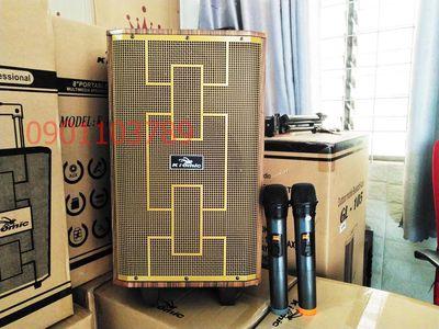 < KM > Loa kéo di động bluetooth 2 mic UHF LED HAY