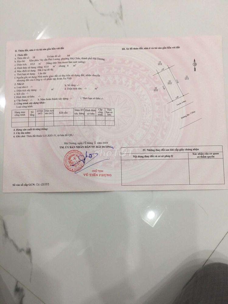 Lô LK 03.51 KĐT Âu Việt, hướng Đông ghé Nam
