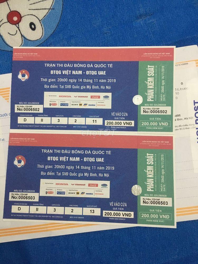 Bán cặp vé khán đài D trận VN UAE ngày 14/11