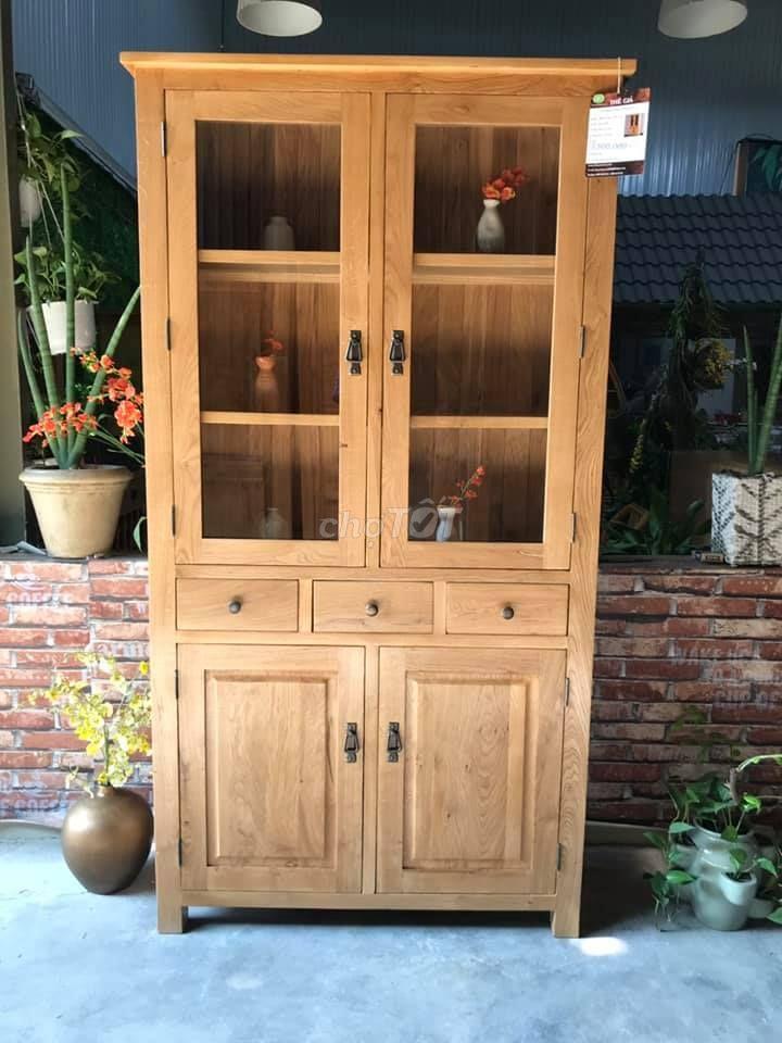Tủ trương bày 4 cánh 3 hộc gỗ sồi mỹ