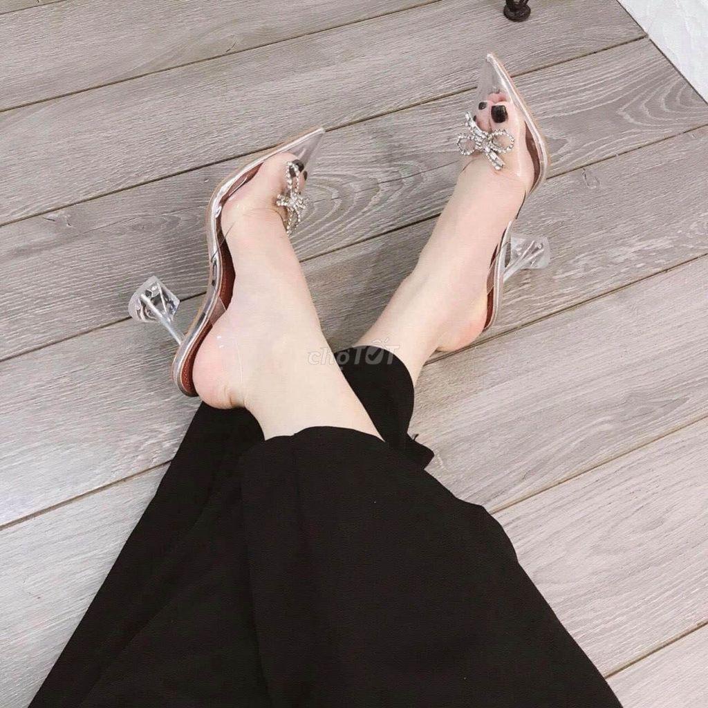 0987401735 - Sandal gót lúp nơ đá