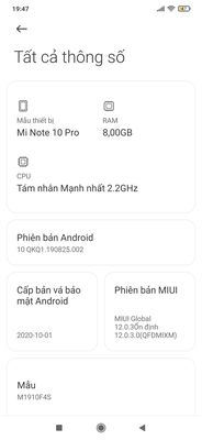 Xiaomi mi note 10 pro hư cam  bể lưng 8/256 bán gl