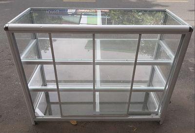 Tủ kiếng viền nhôm 3 tầng cao 1.2m ngang 1m