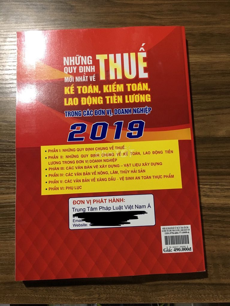 Thanh lý Sách Luật Thuế 2019 mới 100%