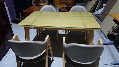 Thanh lý bộ bàn ăn gỗ Sồi 4 ghế