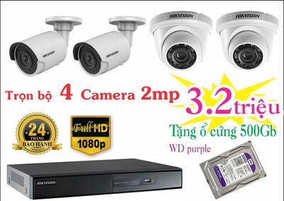 Bộ 4 camera 2mp Hikvision tặng ổ cứng WD tím 500GB
