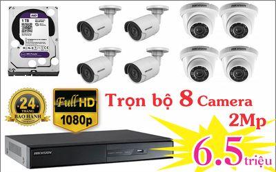 Bộ 8 camera 2mp hikvision chỉ có 6.5tr