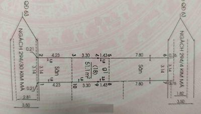 Đất ngõ 294 kim mã Ba Đình 51m²
