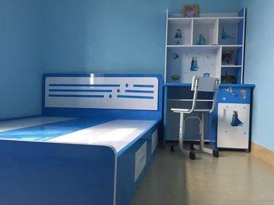 Combo giường ngủ, bàn học cho bé màu xanh dương